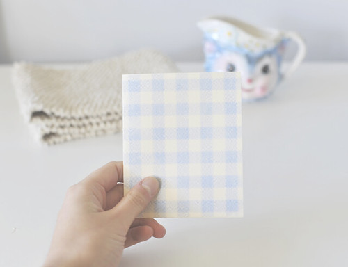 Blue gingham gocco card