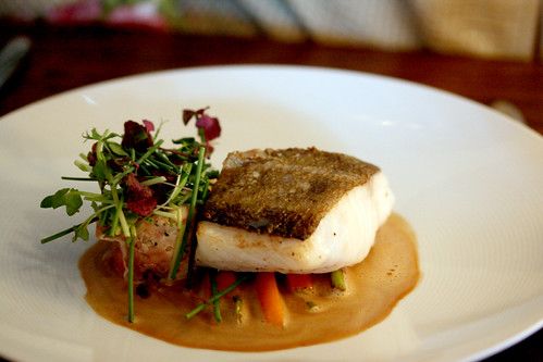 Cod with shellfish sauce