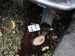 The Magic and The Madness II. (Sol Montaldo) Tags: street autumn water argentina car cards cuatro poker cordoba clubs otoño cartas naipes alcantarilla treboles