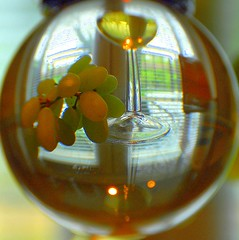 1259.   Crystal Ball of Good Cheer (Di's Eyes) Tags: reflection window glass wine grapes crystalball