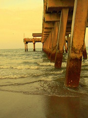 the pier at tybee. (danimals!) Tags: ocean beach water pier sand tybeega