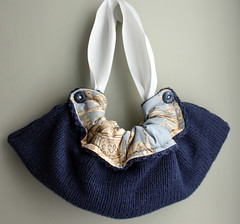 Gather (memake) Tags: blue fashion bag handmade ivory knit craft fabric cotton purse ribbon chic etsy handbag memake ukhandmade