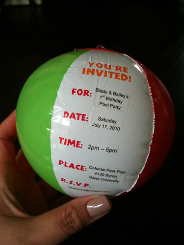 cute beachball invitations for her twins  1st birthday pool party    Unique Party Invitations