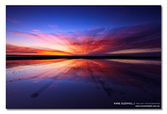 The Burst. ([ Kane ]) Tags: pink blue red sky sun water canon reflections landscape sand rocks zoom australia brisbane workshop qld queensland 5d kane wellingtonpoint gledhill kanegledhill 5dmarkii wwwhumanhabitscomau kanegledhillphotography