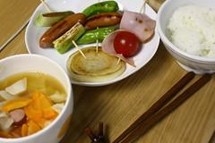 串焼き野菜と具沢山スープ