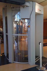 funky full-body airport scanner at #yyj - Think I'd opt for a physical search