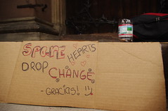 A Sign with a Smile (MKieloch) Tags: street church sign boston homeless cardboard change newbury churchofthecovenant