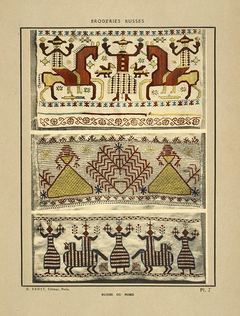 001- Toallas de mano-Rusia del Norte-Broderies russes tartares armeniennes 1925