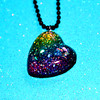 rainbow in the dark resin glitter heart necklace by isewcute (isewcute) Tags: glitter diy necklace rainbow shiny heart handmade girly unique twinkle charm sparkle plastic resin crafty multicolored pendant heartshaped heartnecklace myowndesign isewcute