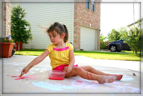 Girl Painting Sidewalk