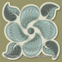 Deco tile 02 - Stock illustration (sifisd) Tags: flower illustration tile square design leaf antique decorative background decoration clipart vector