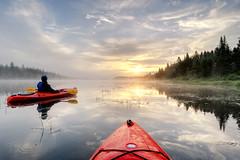 Sunrise at East Inlet, Pittsburg, New Hampshire (andrew c mace) Tags: lake sunrise pond kayak newhampshire wideangle tokina1224 kayaking pittsburg borealforest photomatix blendedexposures nikoncapturenx nikond90 greatnorthwoods eastinlet connecticutlake
