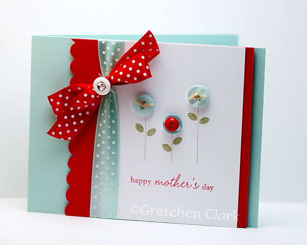 mothers day aqua red buttons