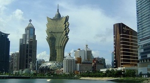 Grand Lisbon (brass/gold) and Wynn Casino (brown on right) Hotels in Macao