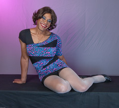 Happy Girl, Me! (kaceycd) Tags: hot highheels legs mesh tgirl short transvestite upskirt seethrough tight pantyhose crossdress spandex lycra tg minidress seamlesspantyhose greatglam