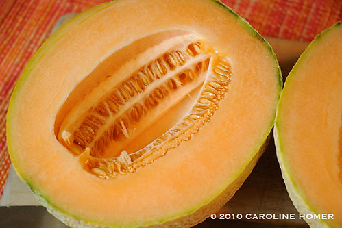 Homegrown organic cantaloupe