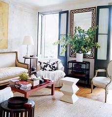 WILLIAM-WALDRON-FOR-COTTAGE-LIVING-VIA-SO-HAUTE (mscott218) Tags: windows favorite black mirror design living interiors interior cottage livingroom shutters interiordesign neutral