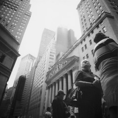 (scott w. h. young) Tags: street nyc newyorkcity people 120 film mediumformat kodak manhattan district trix tourists diana 400 lower wallstreet dianaf financial broadstreet newyorkstockexchange 38mm