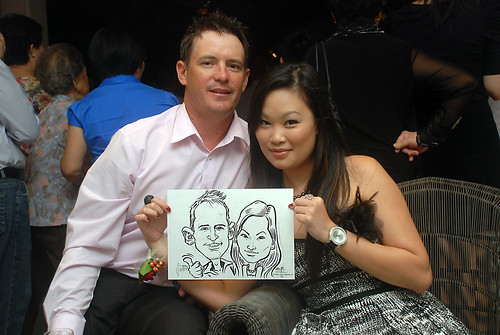 caricature live sketching for David & Christine wedding dinner - 10