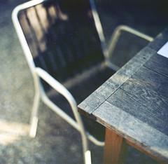 Garden table (mistral_mars) Tags: summer 120 6x6 film mediumformat table chair kodak 66 f2 80mm norita epsonv700 noritar ektar100 carrfranais
