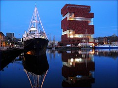 MAS museum and hotelboat (jackfre2 (on a trip-voyage-reis-reise)) Tags: blue sky night reflections lights boat mas dock ship colours belgium terraces antwerp bluehour cafs diamondprincess thegalaxy bonapartedok museumaandestroom hotelship