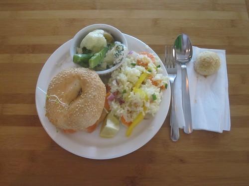 smoked salmon bagel, rice salad, gratin, cookie - $6