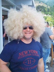 Brian with blond fro, AKA Bruce Vilanch