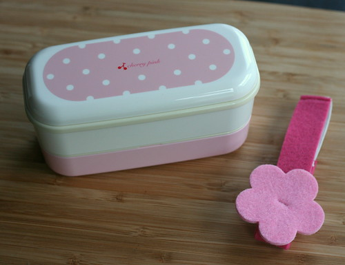 pink 2 tier bento box with belt