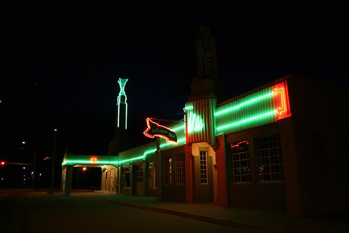 tower conoco station/u drop inn at night