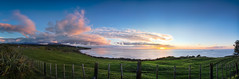 Wintering On Centenial Drive (Mark Solly (F-StopNinja)) Tags: sunset sky panorama clouds fence angle wide panoramic farmland line shore hdr photostitch newplymouth nikond90 tamron18270mm centenialdrive