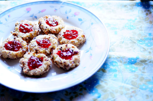 hazelnut jam thumbprint cookies