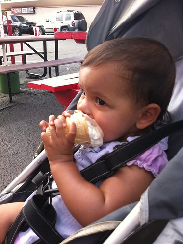 Laila eating an ice-cream cone at BJ's