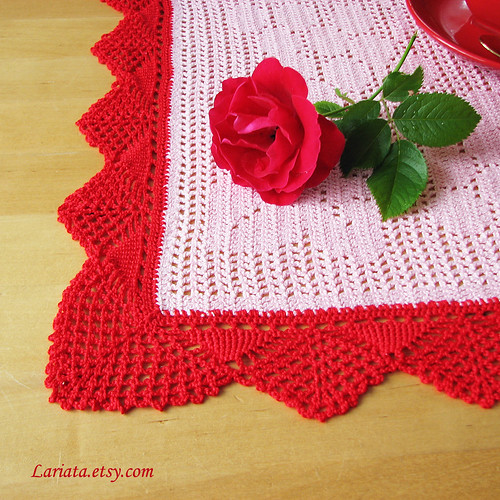 crocheted table runner with vintage lace