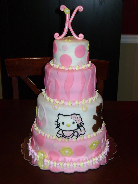 Hello Kitty Baby Shower Cake. 4 tier baby shower cake covered in fondant