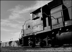 Espee 4816 Basks In The Summer Sun (greenthumb_38) Tags: california railroad blackandwhite bw train blackwhite duotone locomotive orangecounty anaheim southernpacific geep espee gp38 canonpro90is westanaheim jeffreybass
