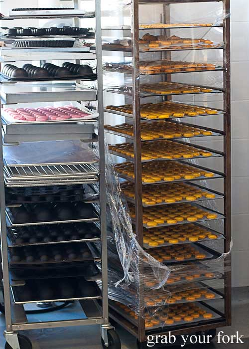 trolleys of macarons