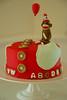 Sock Monkey Birthday Cake (Sweet Fix) Tags: red cakes cake monkey buttons balloon 8 abcs birthdaycake sockmonkey partyhat stitched sewn fondant darkchocolate gumpaste pockey oreocookie italianbuttercream