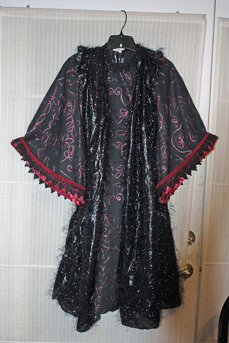 Black and Burgundy Gown with Fuzzy Cloak