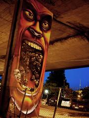 A mouthfull of head (Fat Heat .hu) Tags: night painting graffiti head character huge warsawa cfs coloredeffects fatheat