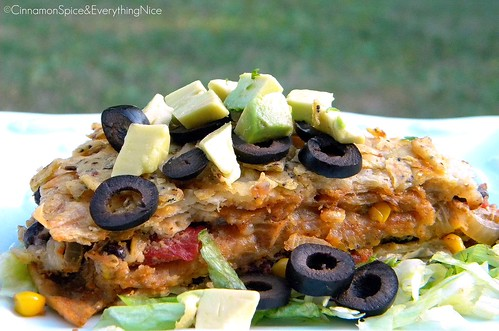 Black Bean and Corn Tortilla Pie