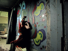 The Beaten Side of Town (bellydnce1103) Tags: selfportrait abandoned colors girl barn illinois colorful graffitti rockford