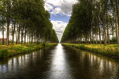 A canal near Damme, Belgium (Mike Olbinski Photography) Tags: trees water clouds belgium canals bruges paths hdr cottages damme hollandtrip greatphotographers