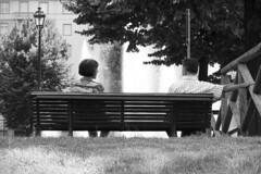 Your smile makes me tumble down (Gatto. Nero.) Tags: bw parco torino blackwhite donna bn uomo biancoenero coppia panchina adulti