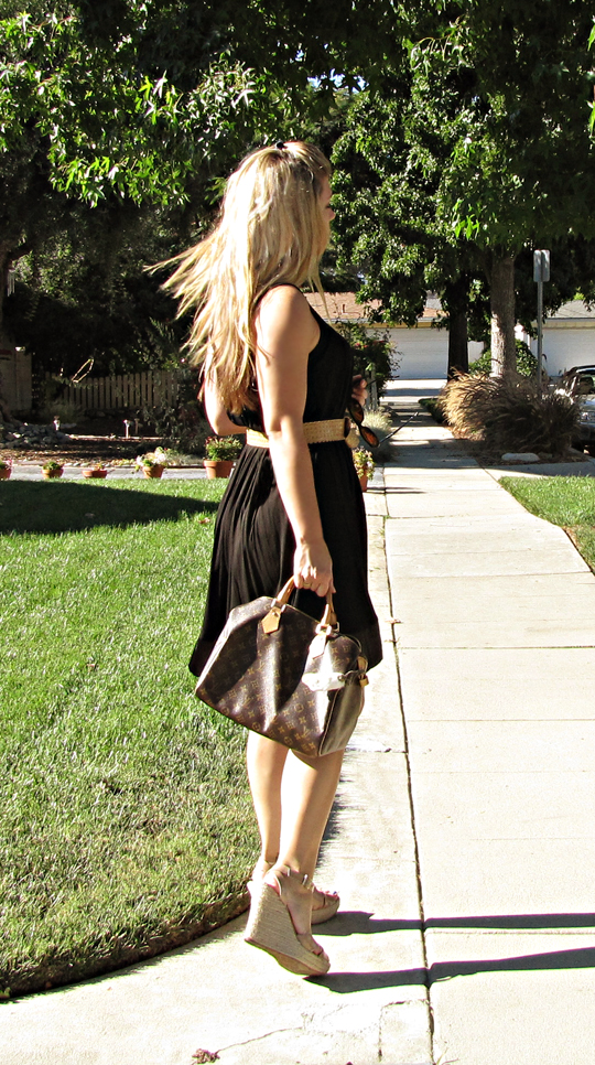 black dress belted+jimmy choos+louis vuitton+back-red