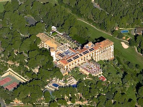 Vista aérea del Castillo Hotel Son Vida (c) Microsoft Maps.