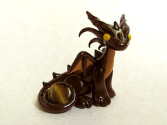 Tiger Eye Brown and Gold Gem Dragon (DragonsAndBeasties) Tags: sculpture brown statue gold golden wings dragon chocolate charm sparkle polymerclay fantasy gift series swarovski etsy custom figurine cocoa magical gem jewel collectable shimmer mythical gemstone tigereye