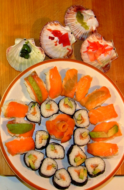 sushi with fixings