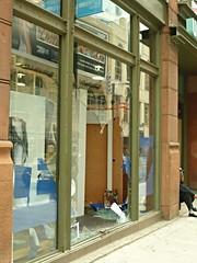 aftermath: Broken Window (Bad Alley) Tags: toronto window brokenglass smashed smashedwindow riots brokenwindow g20 apocalypsedecadence