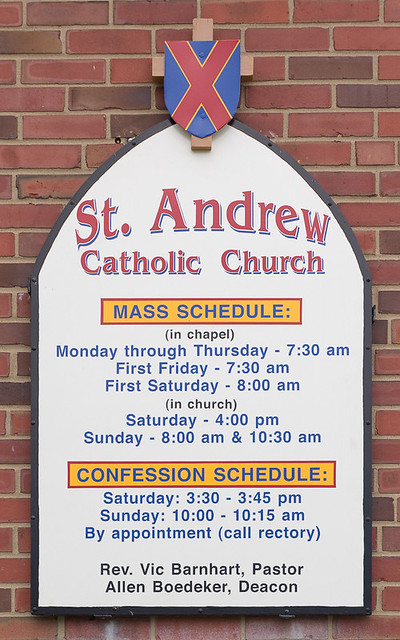 Saint Anthony Roman Catholic Church, in Lemay, Missouri, USA - exterior sign
