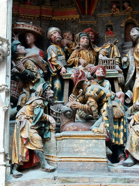 Jesus appears to the money lenders in the square polychrome reliefs gothic statues